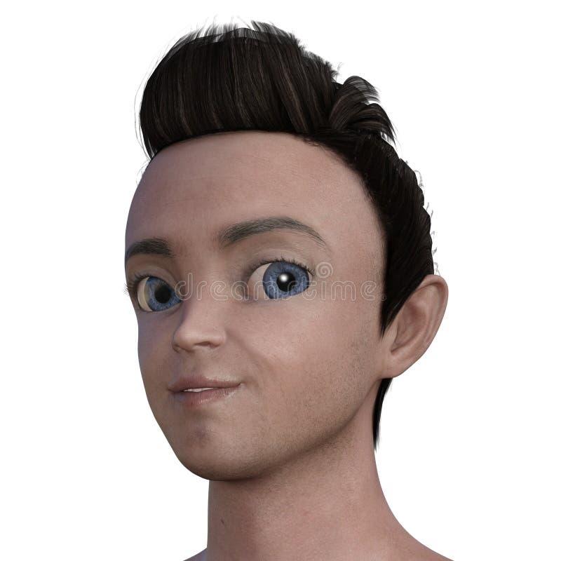 männlicher Kopf des realistischen Anime 3D lizenzfreie abbildung