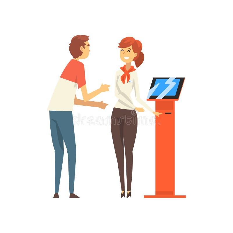 Männlicher Kunde, der am freundlichen weiblichen Manager im Bank-Büro, Arbeitnehmerin erbringt Dienstleistungen Kunden-Vektor sic vektor abbildung