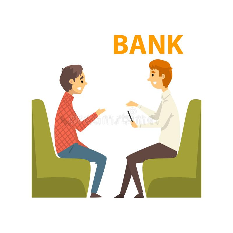 Männlicher Kunde, der am Manager, treffend im Bank-Büro, Bank-Arbeitskraft sich berät, die Dienstleistungen Kunden-Vektor erbring stock abbildung