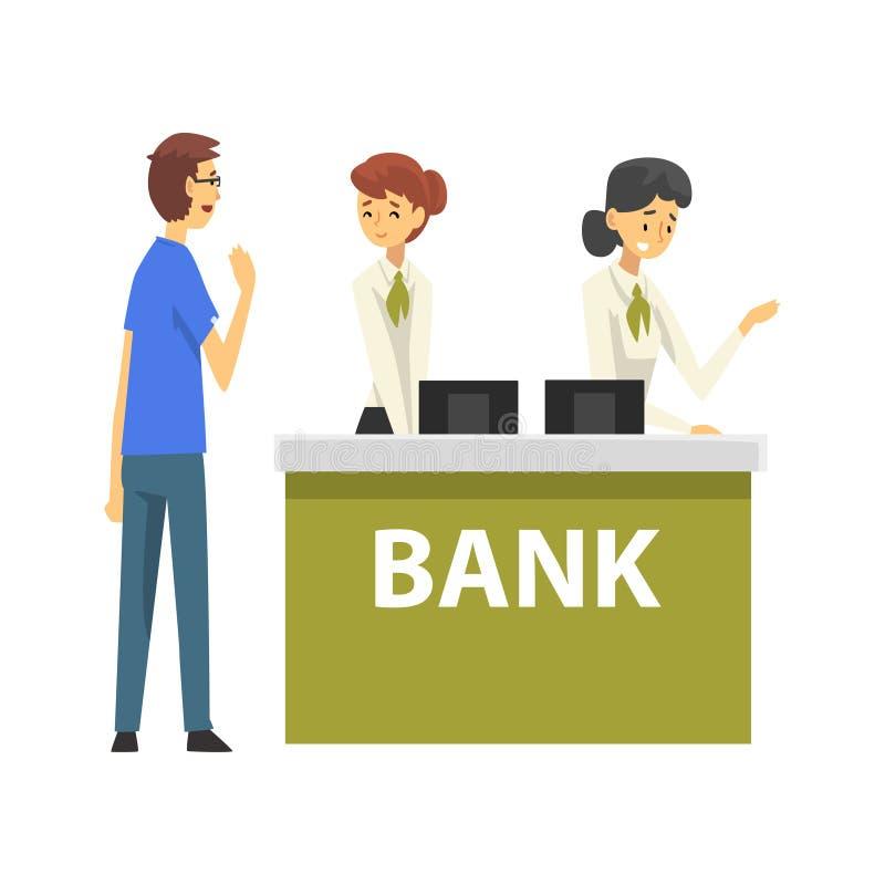 Männlicher Kunde, der am Manager, weibliche Bank-Arbeitskräfte erbringen Dienstleistungen Kunden, Empfangsbüro-Sitzung sich berät lizenzfreie abbildung