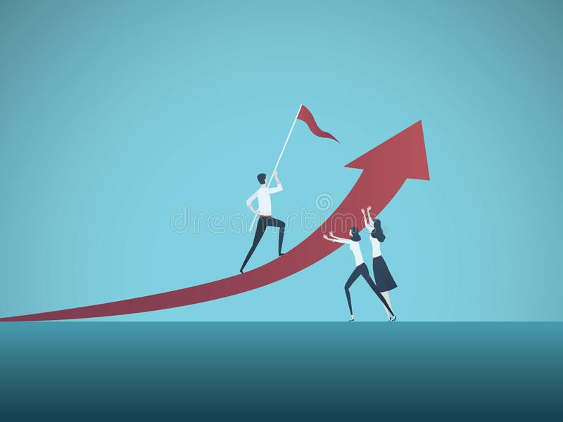 Männlicher Manager des Geschäftsmannes, der durch Geschäftsfrau-Vektorkonzept gestützt wird Symbol der Unterscheidung, unfaire Pr lizenzfreie abbildung