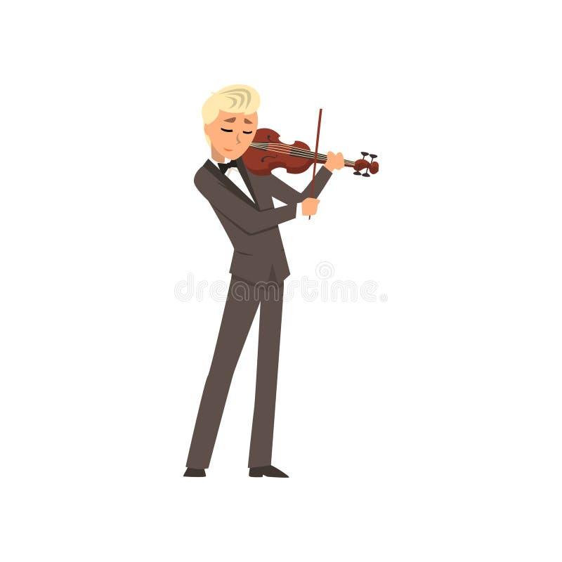 Männlicher Musiker, der einen klassischen Anzug spielt Violine, Violinisten spielt Illustration Vektor der klassischen Musik auf  lizenzfreie abbildung