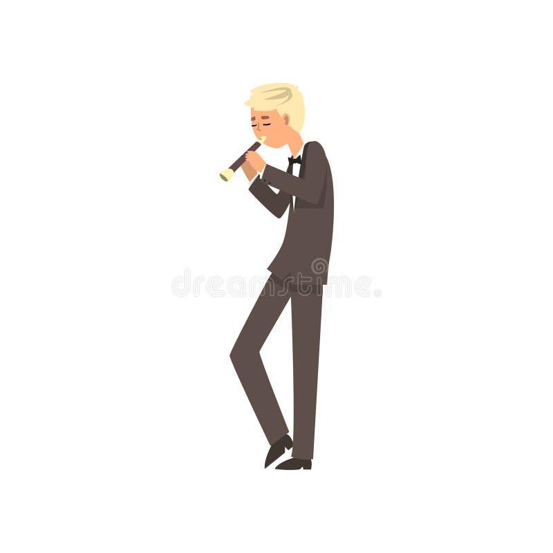 Männlicher Musiker, der Flöte, Flötistmann spielt Illustration Vektor der klassischen Musik auf einem weißen Hintergrund spielt vektor abbildung