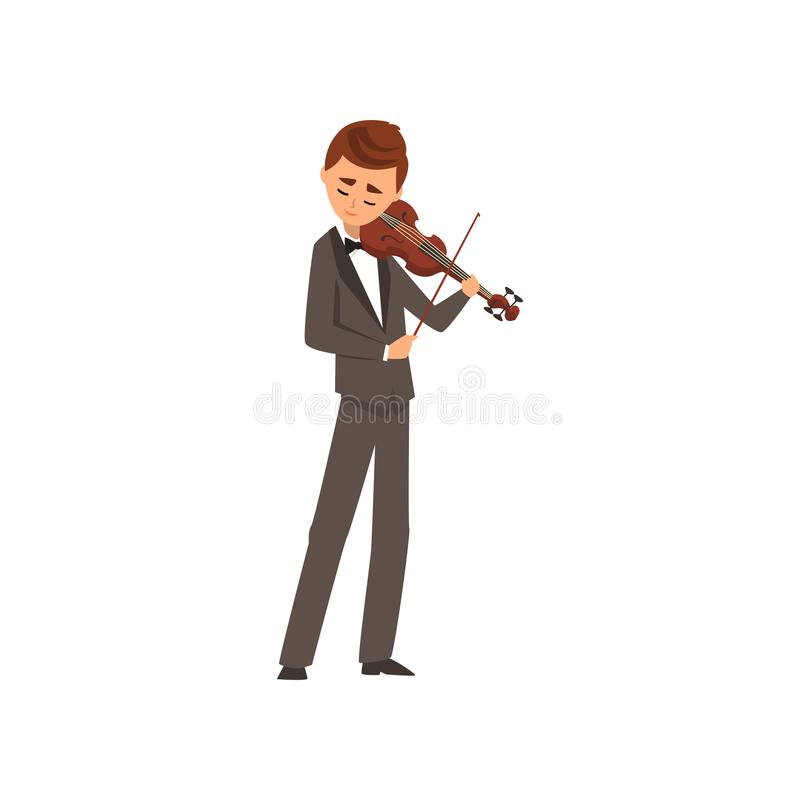 Männlicher Musiker, der Violine, Violinisten trägt den schwarzen eleganten Anzug spielt Illustration Vektor der klassischen Musik stock abbildung