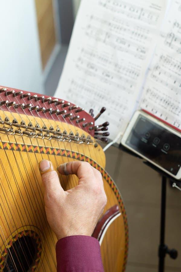 Männlicher Musiker spielt Bandura und probt zu Hause lizenzfreies stockfoto