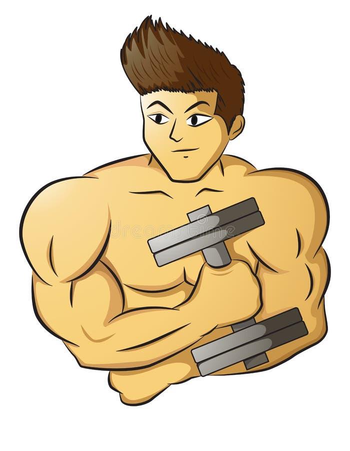 Männlicher muskulöser Bodybuilder, der Dummkopf hält lizenzfreie abbildung