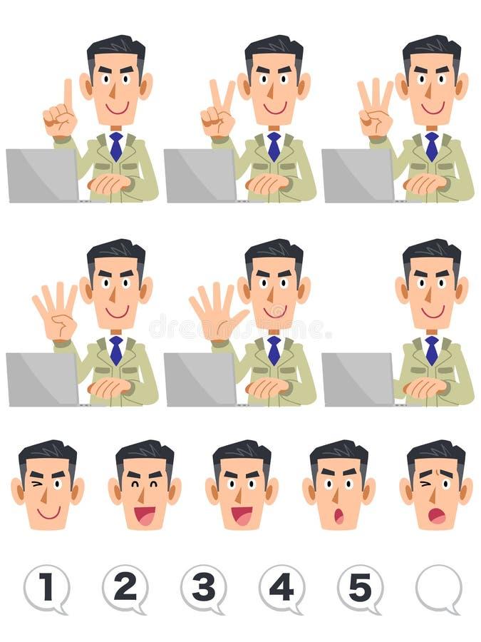 Männlicher oberer Körper eines Baugeschäftes, das Zahlen mit den Fingern und Personal-Computerausdruck und Zahlen zählt stock abbildung