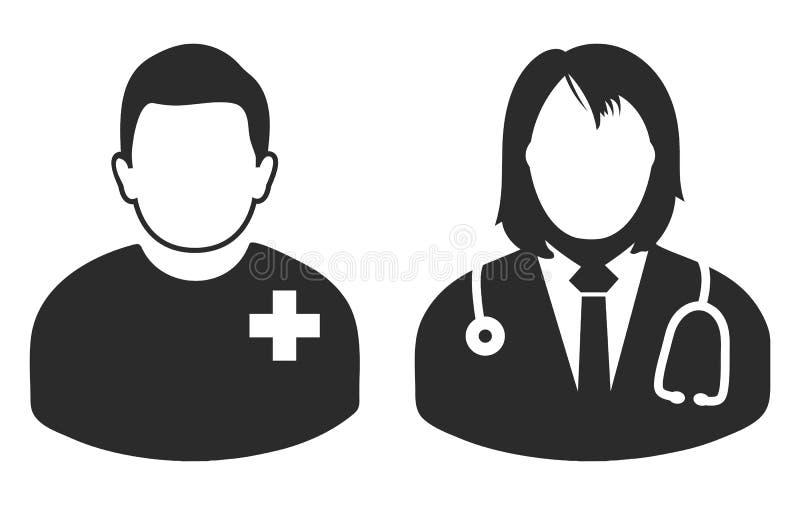 Männlicher Patient und Ärztinikone stock abbildung