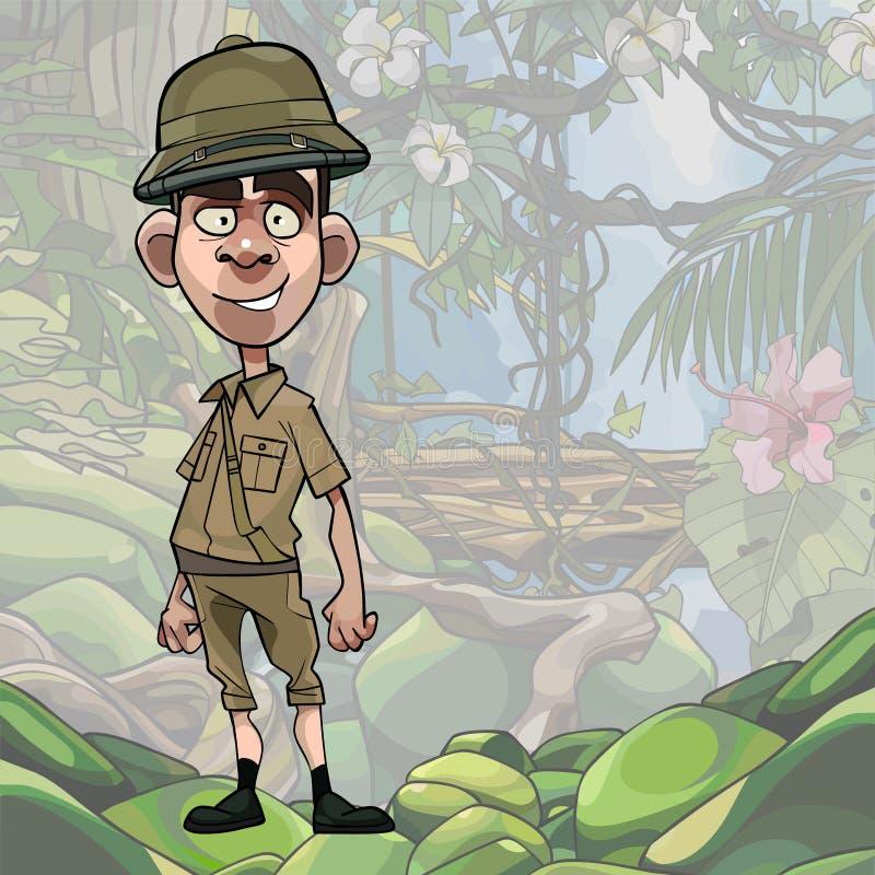 Männlicher Reisender der Karikatur steht auf Dschungelhintergrund lizenzfreie abbildung