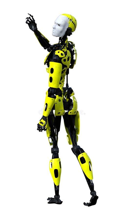 männlicher Roboter der Wiedergabe-3D auf Weiß vektor abbildung