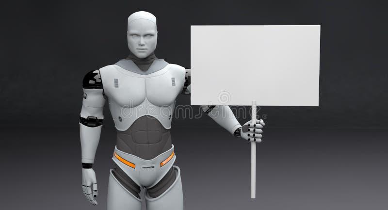 Männlicher Roboter mit kleinem abgestimmtem leerem Zeichen auf dunklem Hintergrund lizenzfreie abbildung