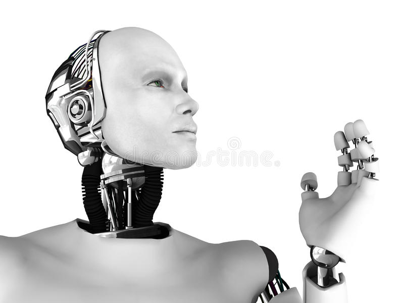 Männlicher Roboterkopf im Profil. lizenzfreie abbildung