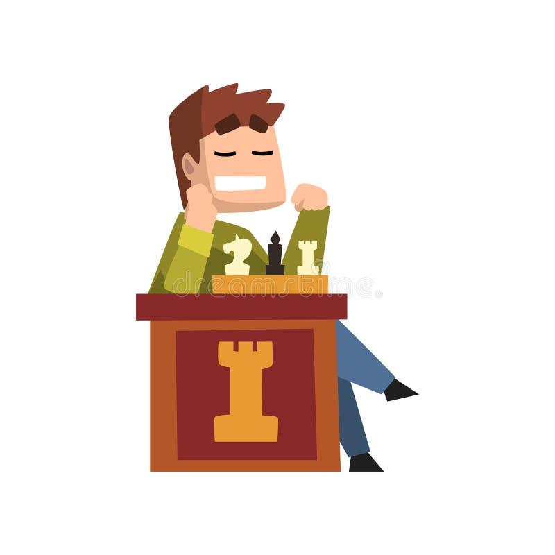 Männlicher Schachspieler, der Schachvektor Illustration auf einem weißen Hintergrund spielt stock abbildung