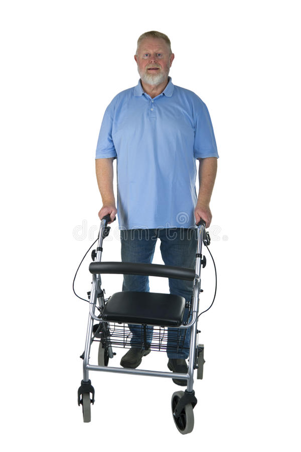Männlicher Senior mit Rollator stockfoto
