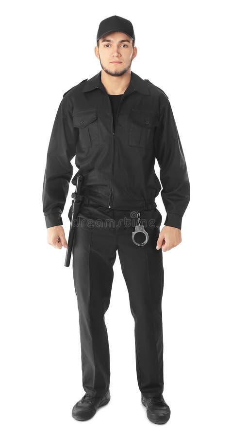 Männlicher Sicherheitsbeamte auf Hintergrund lizenzfreies stockfoto