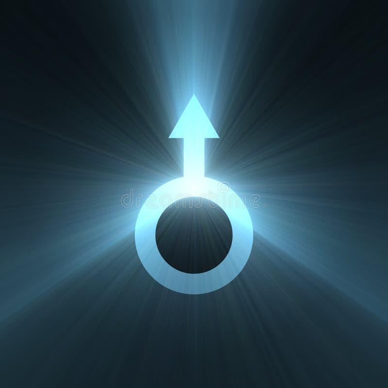 Männlicher Symbol Mars-Zeichenlichthalo vektor abbildung
