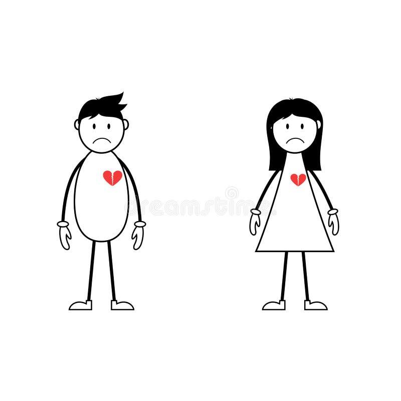 Männlicher und weiblicher Stock stellt mit defekten Herzen dar lizenzfreie abbildung