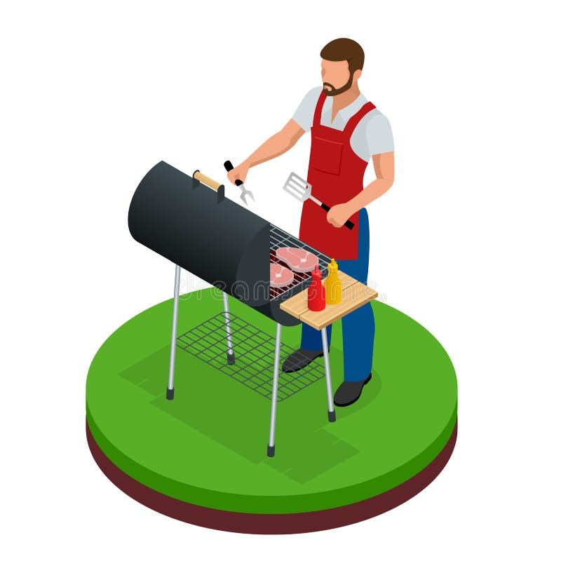 Männlicher vorbereitender Grill draußen Grillsommerlebensmittel Picknick, das Gerät kocht Flache isometrische Illustration Vater  vektor abbildung