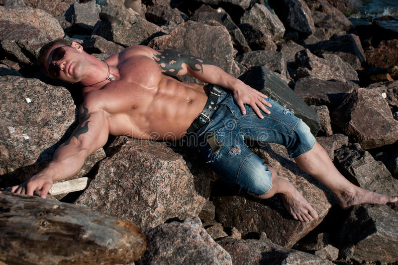 Männliches Baumuster auf den Felsen stockbild