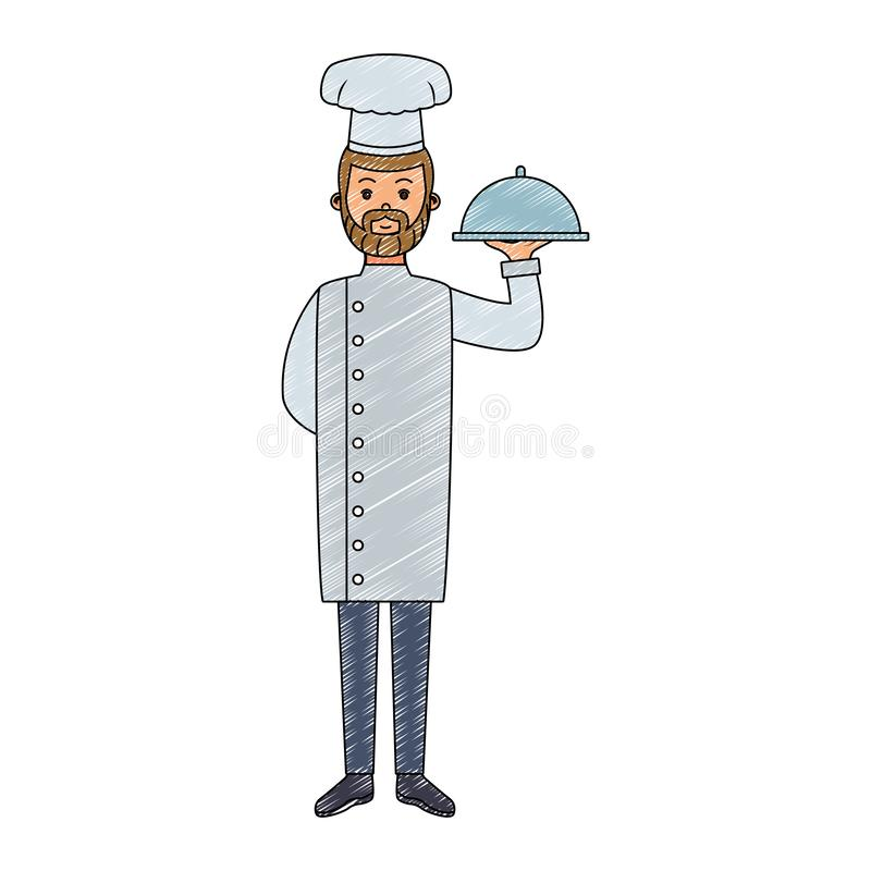 Männliches Chefholding-Tellergekritzel stock abbildung
