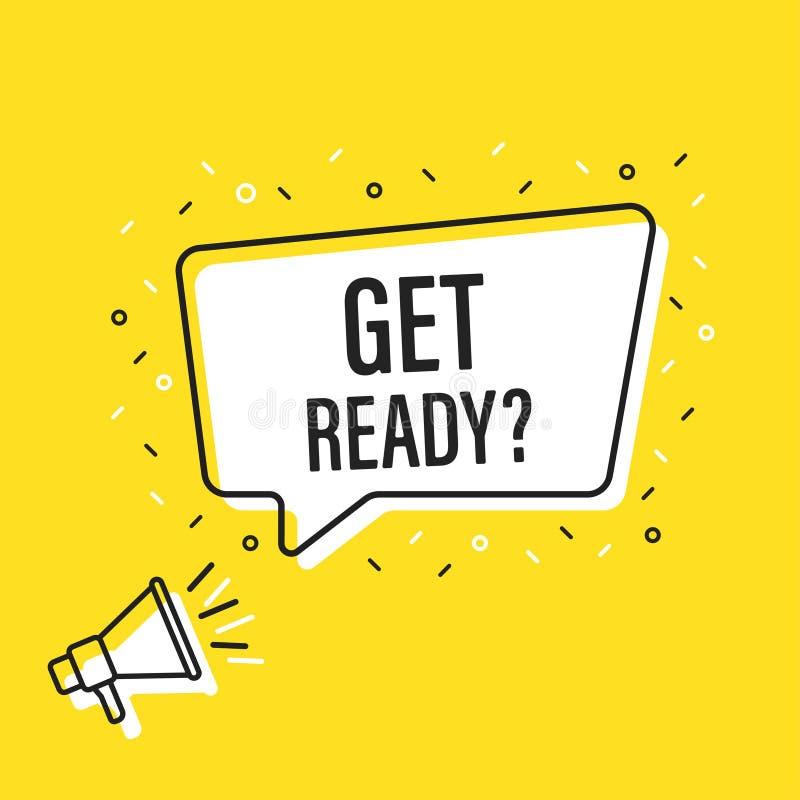 Männliches Handholdingmegaphon mit bereite Spracheblase erhalten lautsprecher Fahne für Geschäft, Marketing und Werbung Vektor stock abbildung