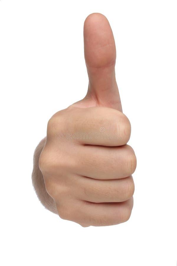 Männliches Handzeichen mit dem Daumen oben stockfotos
