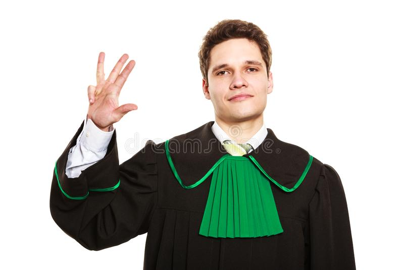 Männliches Rechtsanwaltshowzeichen mit der Hand lizenzfreies stockfoto