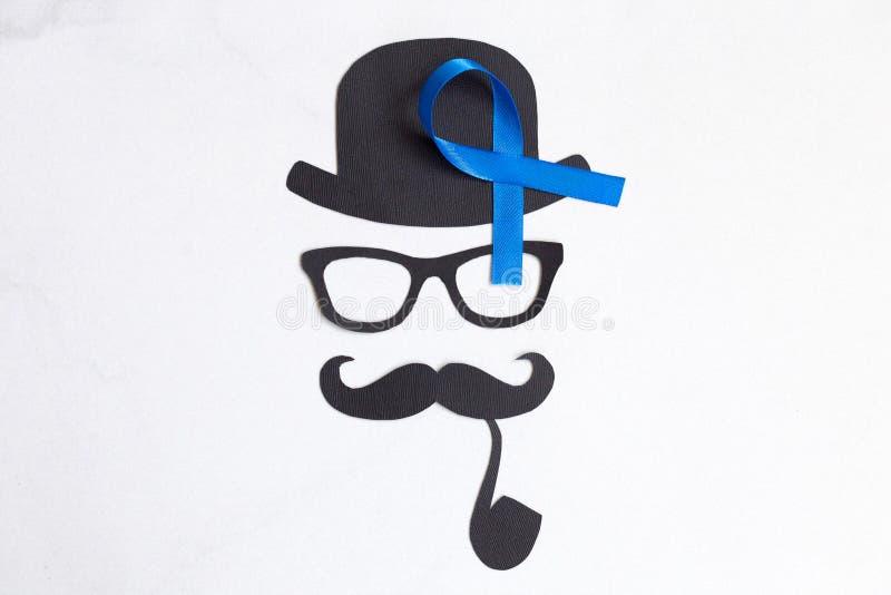 Männliches Schattenbildmuster mit Symbol des blauen Bandes November-concep stockbilder