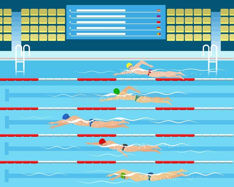 Männliches schwimmendes Laufen im Pool lizenzfreie abbildung