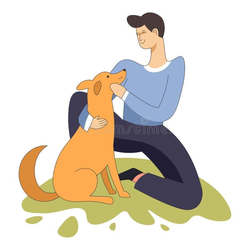 Männliches Sitzen mit Haustierhundehaustier und -Eigentümer lizenzfreie abbildung
