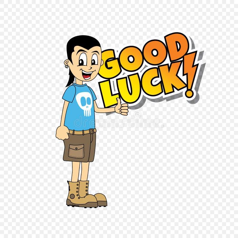 Männliches Thema des guten Glücks der Zeichentrickfilm-Figur stock abbildung