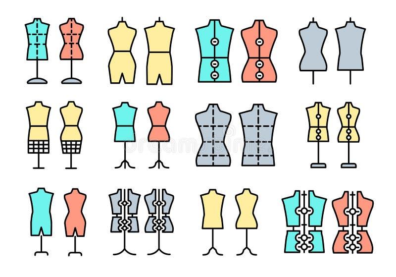 Männliches u. weibliches Dressmakingmannequin Zeichen der Schneiderattrappe Anzeigenfehlschlag, Torso Justierbare Kleiderform Lin vektor abbildung
