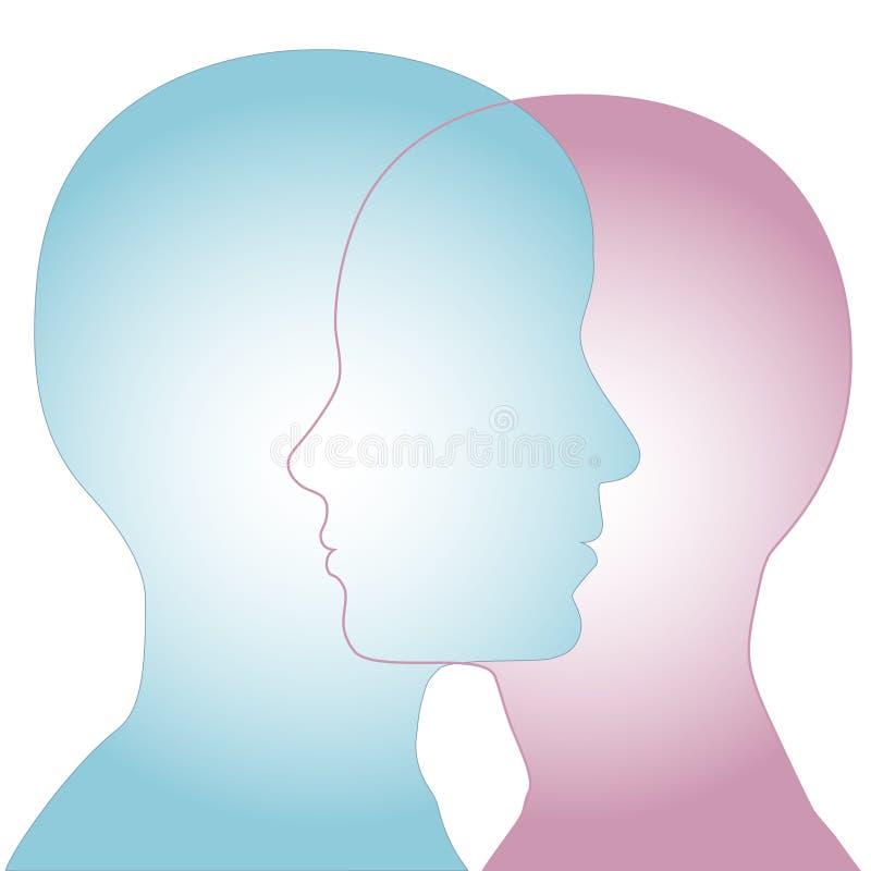 Männliches u. weibliches Schattenbild-Profil-Gesichts-Merge vektor abbildung