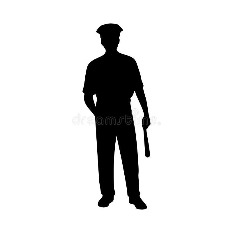 Männliches Vektorschattenbild Piliceman auf weißem Hintergrund vektor abbildung