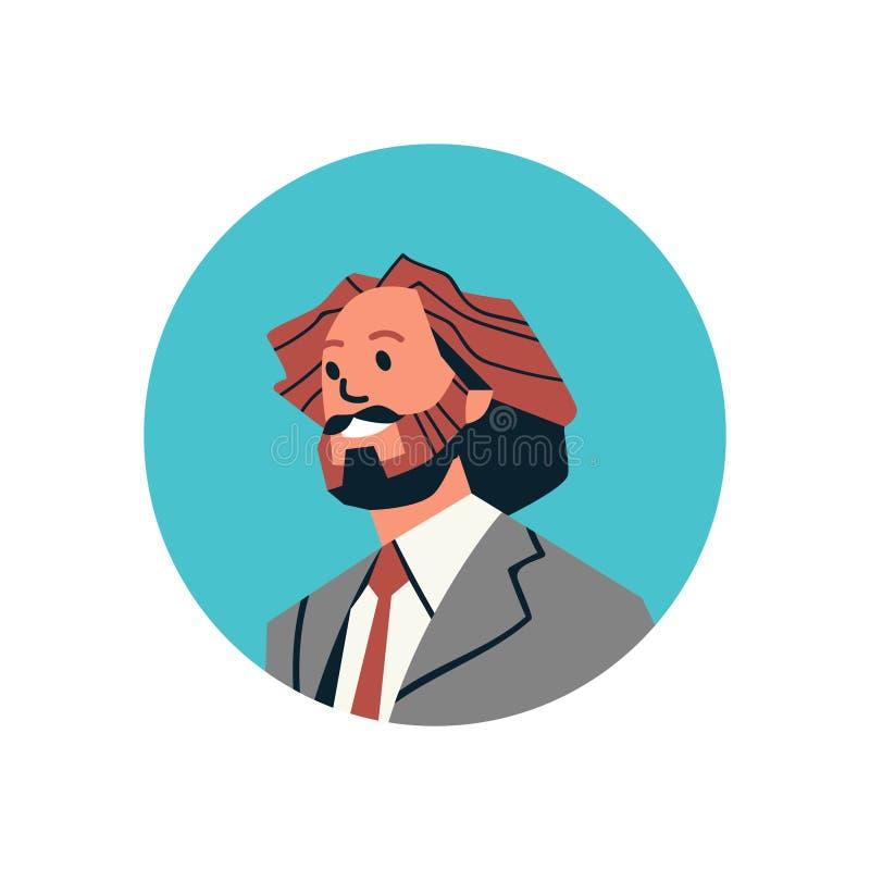 Männliches Zeichentrickfilm-Figur-Porträt des Brown-Haargeschäftsmannavataramanngesichtsprofilikonenkonzepton-line-Beistandsservi lizenzfreie abbildung
