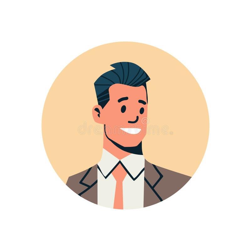 Männliches Zeichentrickfilm-Figur-Porträt des Brunettegeschäftsmannavataramanngesichtsprofilikonenkonzepton-line-Beistandsservice stock abbildung
