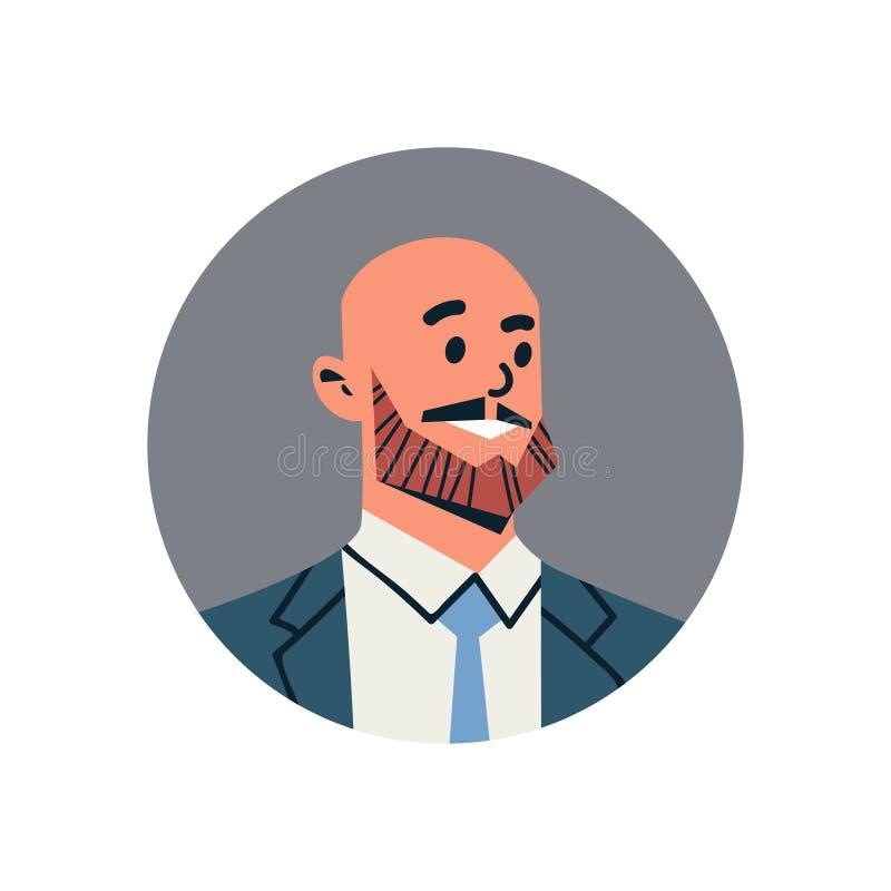 Männliches Zeichentrickfilm-Figur-Porträt des Kahlkopfgeschäftsmannavataramanngesichtsprofilikonenkonzepton-line-Beistandsservice lizenzfreie abbildung