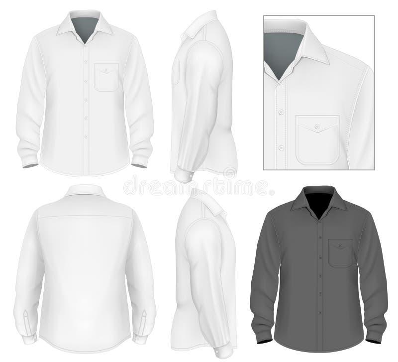 Mäns för knapp muff för skjorta ner lång royaltyfri illustrationer