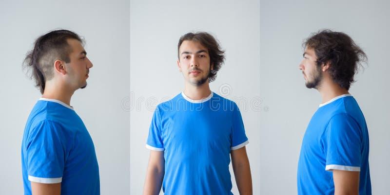 Mäns hairstyling och haircutting i en barberare shoppar eller hårsalongen arkivbilder