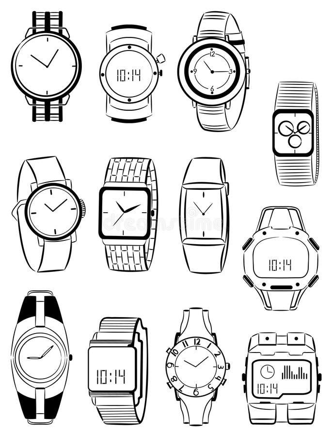 Mäns klockor vektor illustrationer