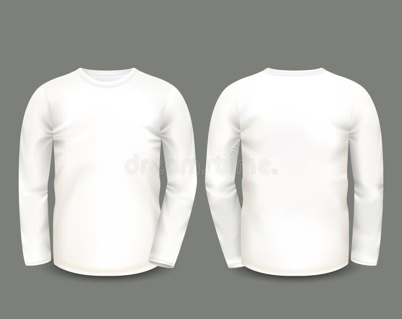 Mäns lång muff för vita tröja framme och tillbaka sikter kantlagrar låter vara vektorn för oakbandmallen Fullständigt redigerbart royaltyfri illustrationer