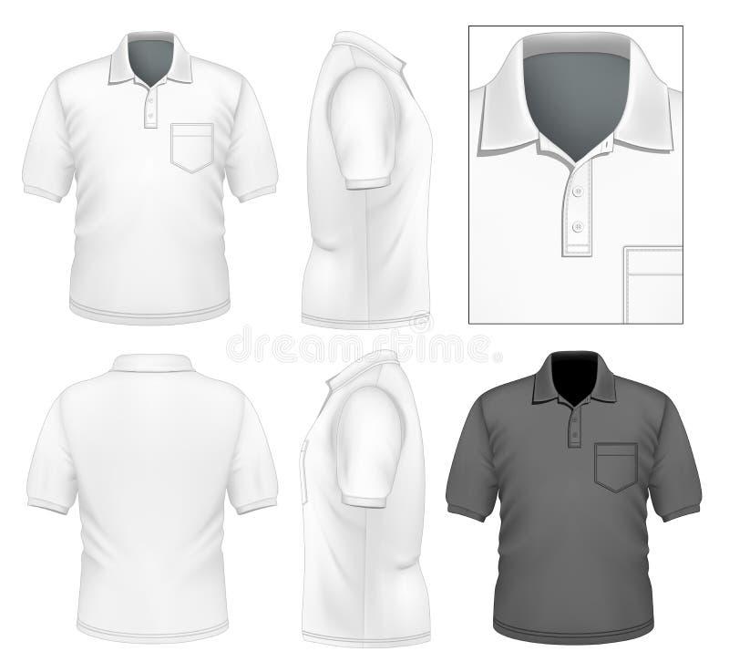 Mäns mall för polo-skjorta design royaltyfri illustrationer