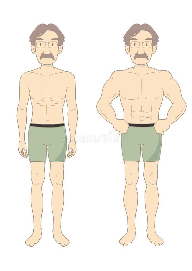 Mäns mitt-En för kropp för skönhetmuskel stock illustrationer