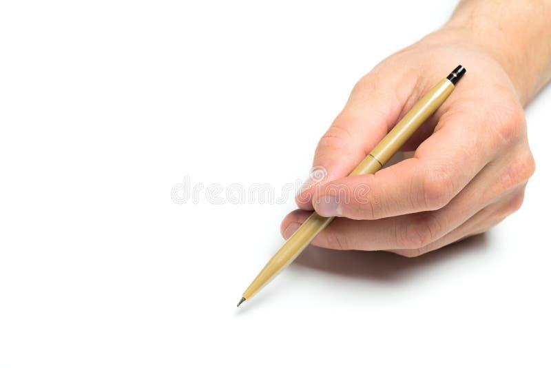 Mäns penna för handinnehav på isolerad backgroung, slut upp fotografering för bildbyråer
