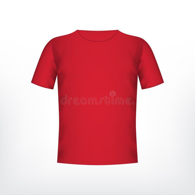 Mäns röda t-skjorta stock illustrationer