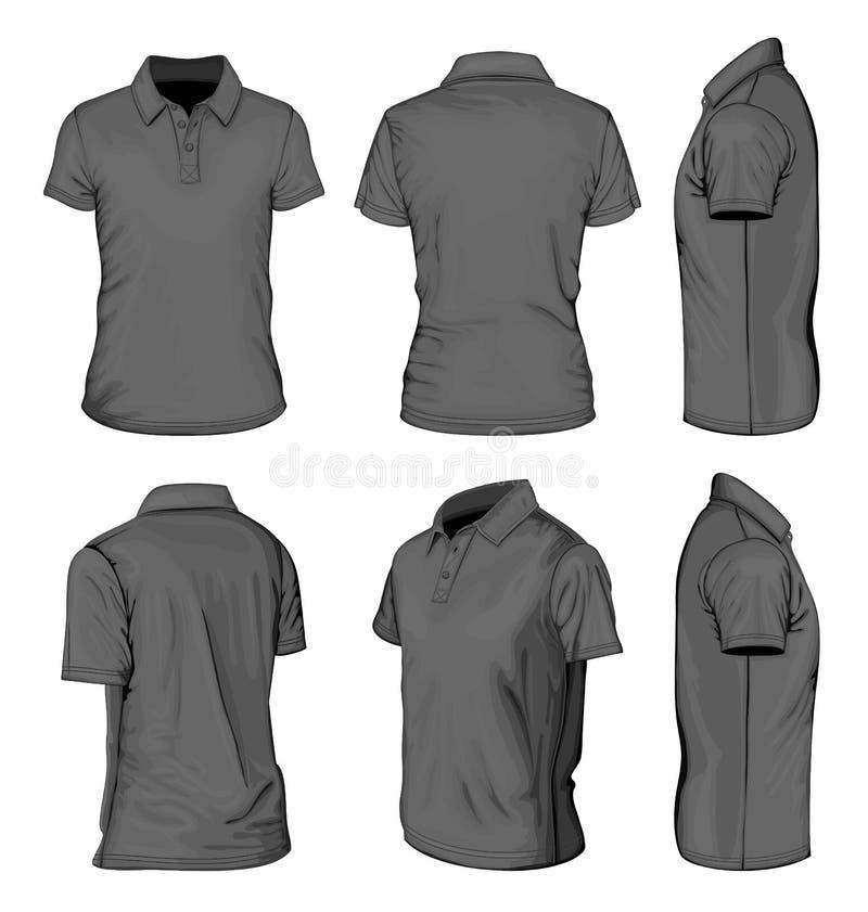 Mäns svart kort muffpolo-skjorta stock illustrationer