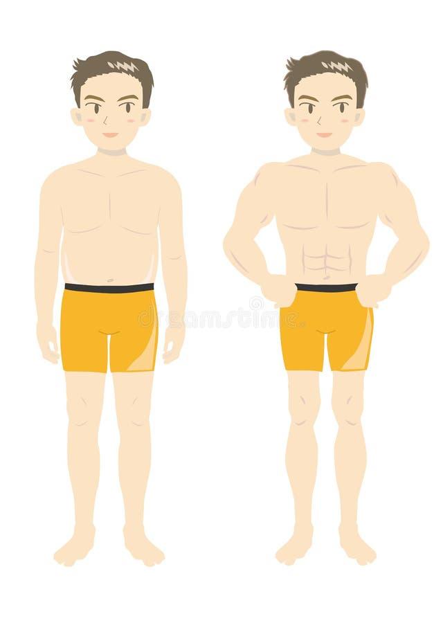 Mäns ungdom-b för kropp för skönhetmuskel stock illustrationer