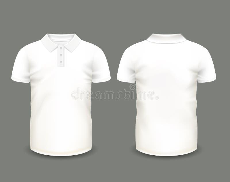 Mäns vit muff för kortslutning för poloskjorta framme och tillbaka sikter kantlagrar låter vara vektorn för oakbandmallen Fullstä vektor illustrationer