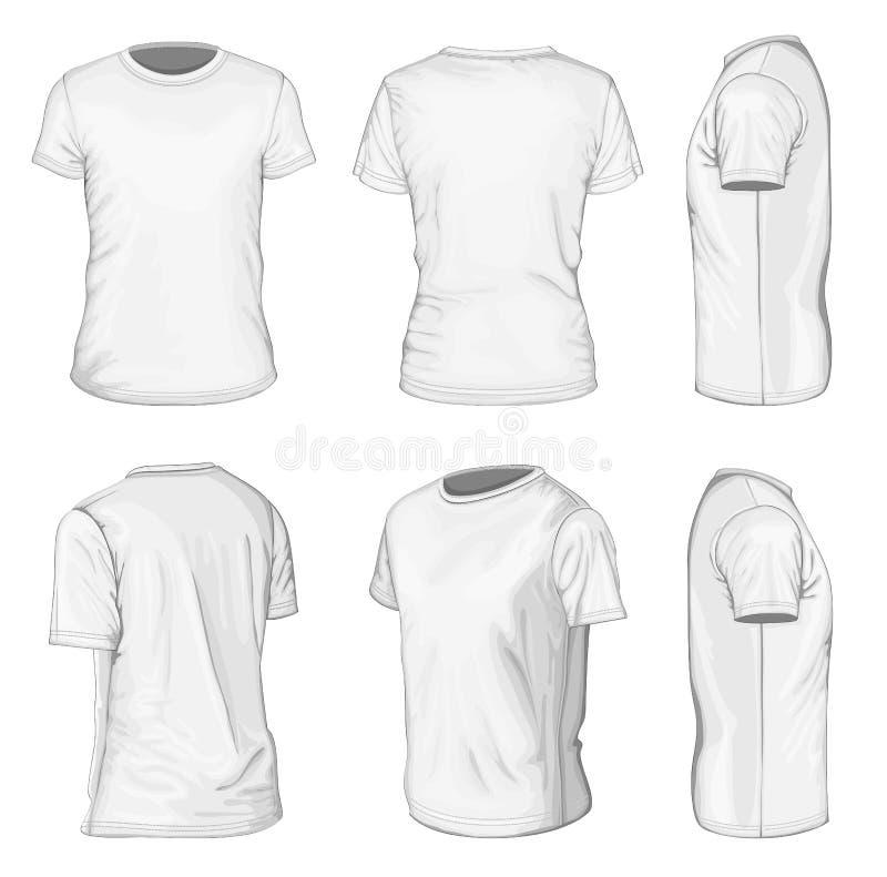 Mäns vita korta mallar för mufft-skjorta design royaltyfri foto