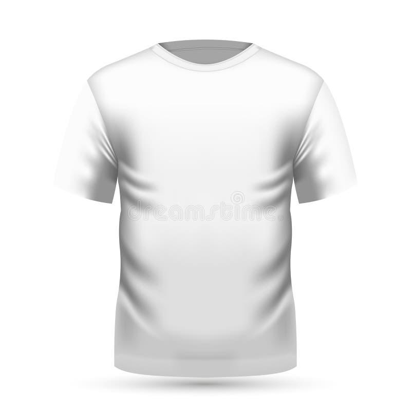 Mäns vita t-skjorta främst sikt royaltyfri illustrationer